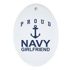 Proud Navy Girlfriend Oval Ornament