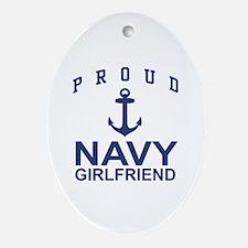 Proud Navy Girlfriend Oval Ornament