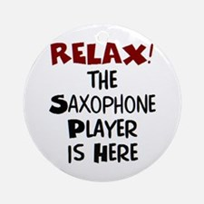 saxophone player here Round Ornament