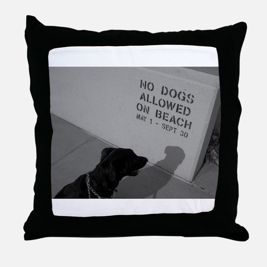 Black Lab  No Dogs Allowed Throw Pillow
