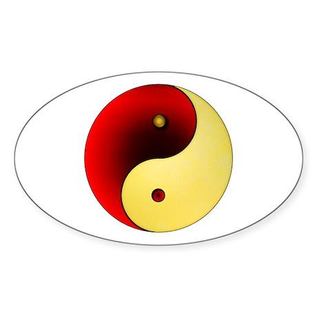 Yin-Yang (red/gold) Oval Sticker
