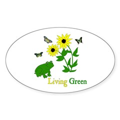Living Green Frog Oval Decal
