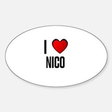 I LOVE NICO Oval Decal