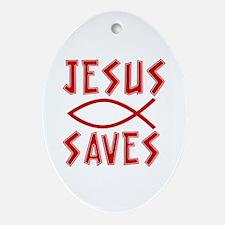 Jesus Saves! Oval Ornament