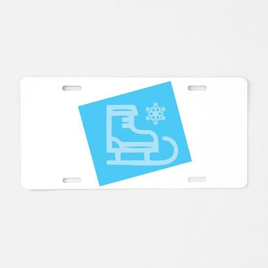 Hockey Skate - Snowflake Aluminum License Plate
