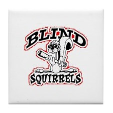 Blind Squirrels Tile Coaster White