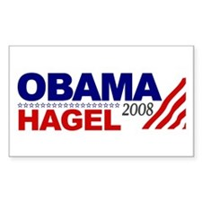 Obama Hagel 08 Rectangle Decal