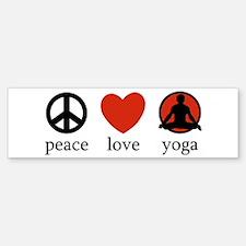 Peace Love Yoga Bumper Car Car Sticker