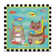 2 Kitty Cats Snorkeling Tile Coaster