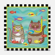 2 Kitty Cats Snorkeling Tile Coaster