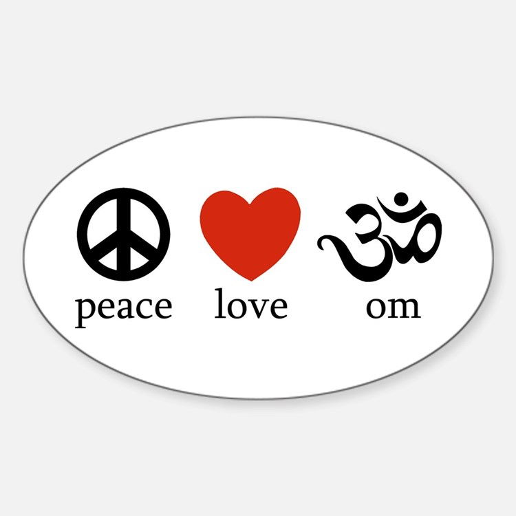Peace Love Om Oval Decal