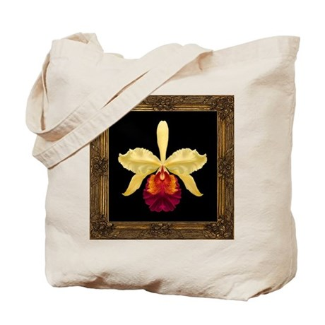 Framed Yellow Cat Orchid Tote Bag