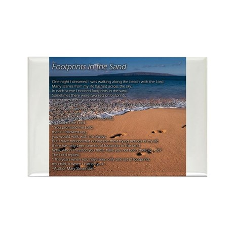 Footprints in the Sand Rectangle Magnet