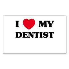 I Love My Dentist Rectangle Decal