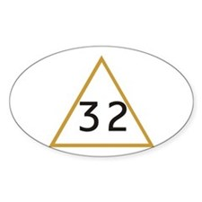 32 in triangle Oval Decal