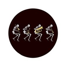 "Skeleton Brass Band 3.5"" Button"
