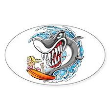 Shark Surfer Oval Decal