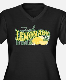 Fresh Lemonade Women's Plus Size V-Neck Dark T-Shi