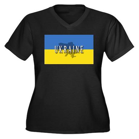 Ukraine Flag Extra Women's Plus Size V-Neck Dark T