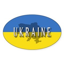 Ukraine Flag Extra Oval Decal
