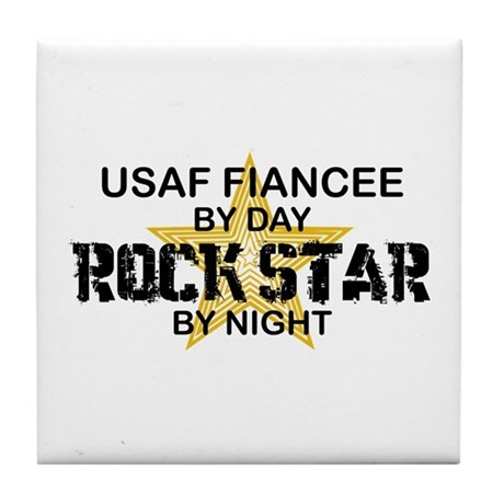 USAF Fiancee Rock Star by Night Tile Coaster