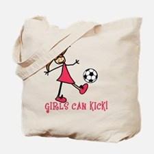 Girls Soccer Girls Can Kick Tote Bag