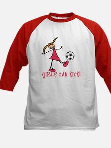 Girls Soccer Girls Can Kick Kids Baseball Jersey