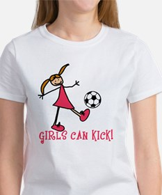 Girls Soccer Girls Can Kick Tee