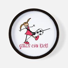 Girls Soccer Girls Can Kick Wall Clock