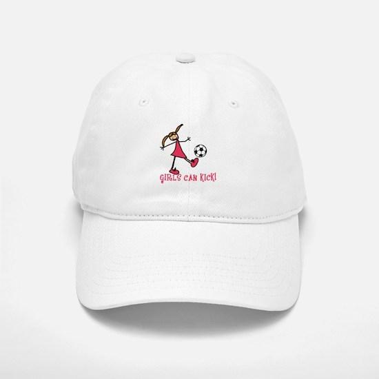 Girls Soccer Girls Can Kick Baseball Baseball Cap