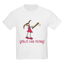 Girls Softball Girls Can Swing T-Shirt