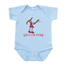 Girls Softball Girls Can Swing Infant Bodysuit