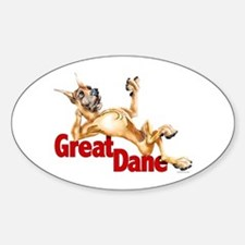Great Dane Fawn LB Oval Decal