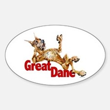 Great Dane Brindle LB Oval Decal