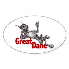Great Dane Black LB Oval Decal