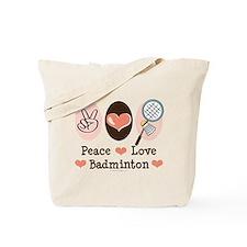 Peace Love Badminton Tote Bag