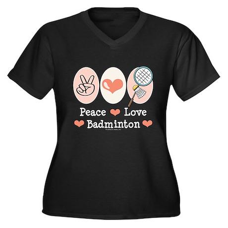 Peace Love Badminton Women's Plus Size V-Neck Dark