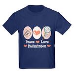 Peace Love Badminton Kids Dark T-Shirt