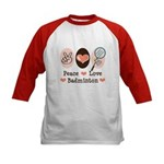 Peace Love Badminton Kids Baseball Jersey