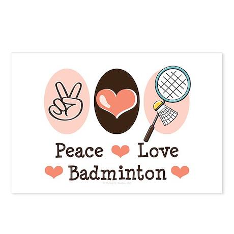 Peace Love Badminton Postcards (Package of 8)