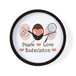 Peace Love Badminton Wall Clock