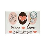 Peace Love Badminton Rectangle Magnet (10 pack)