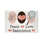 Peace Love Badminton Rectangle Magnet