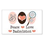 Peace Love Badminton Rectangle Sticker