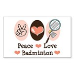 Peace Love Badminton Rectangle Sticker 10 pk)