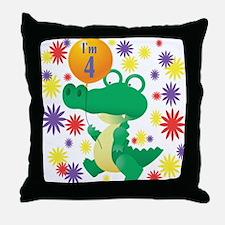 I'm 4 Birthday Alligator Throw Pillow