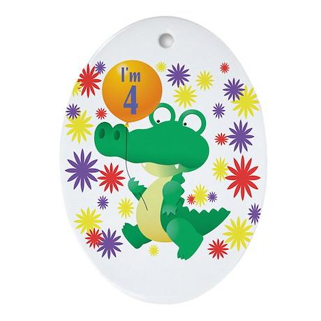 I'm 4 Birthday Alligator Oval Ornament