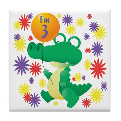 I'm 3 Birthday Alligator Tile Coaster