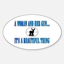 A woman and her gun Oval Decal