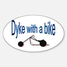 Dyke on a bike Oval Decal